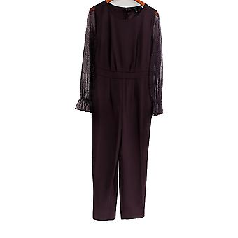 Du Jour Jumpsuits Mesh Sleeve Slim Leg Purple A345756