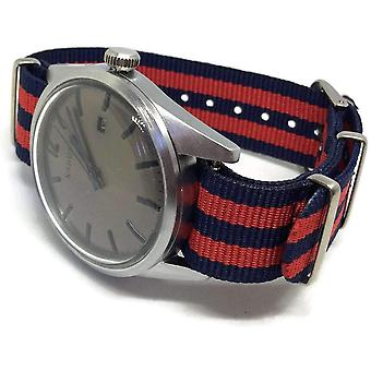 Nato zulu g10 style watch strap dark blue and red 18mm to 22mm stainless steel buckle