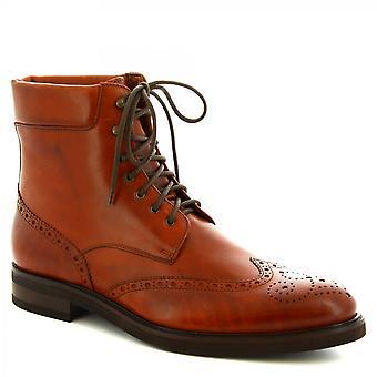 Leonardo Shoes Men's handgemaakte lace-ups brogues enkellaarzen bruin kalfsleer