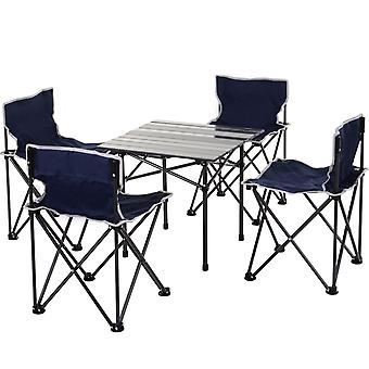 Outsunny 5 Pcs Camping Set w/ 4 Chairs Roll Top Table Carry Bag Foldable Portable Lightweight Compact Family Dining