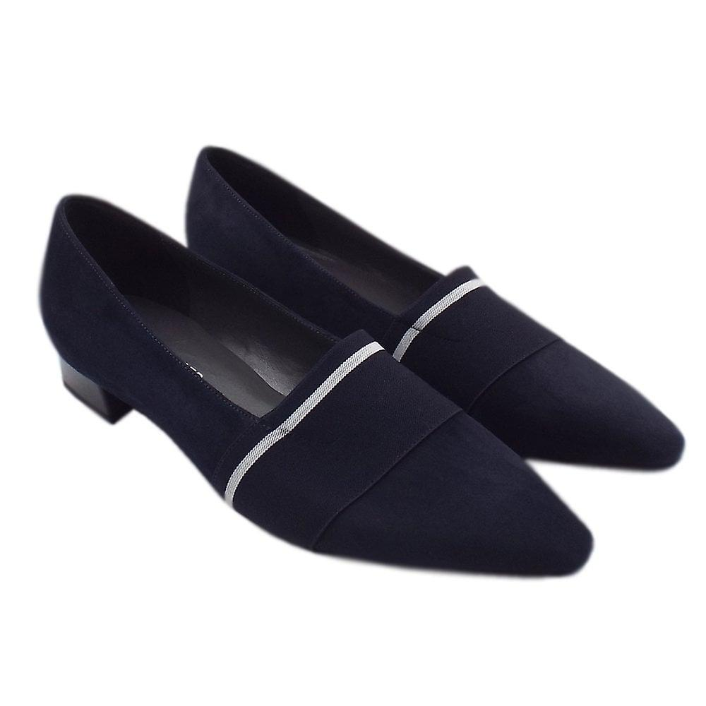Peter Kaiser Lagos Pointed Toe Ballet Pumps In Navy Suede