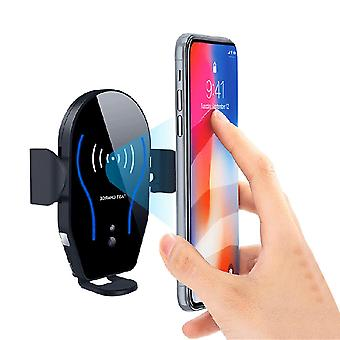 Bakeey™ 10w qi wireless fast charger infrared sensor auto lock car holder stand for iphone xs xr mobile phone (black)