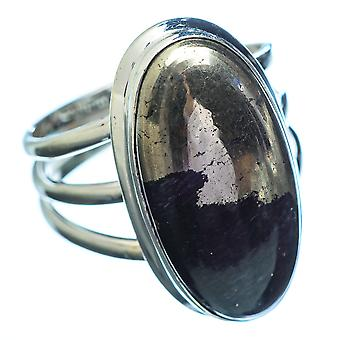 Large Pyrite In Magnetite (healer's Gold) Ring Size 10 (925 Sterling Silver)  - Handmade Boho Vintage Jewelry RING3522