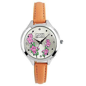 Eton Fashion Blush Strap Watch, Pink Floral Embossed Dial - 3267L-BL