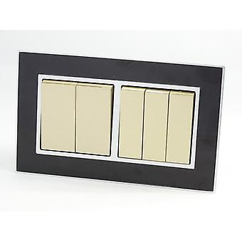I LumoS AS Luxury Black Mirror Glass Double Frame 5 Gang 1 Way Rocker Light Switches