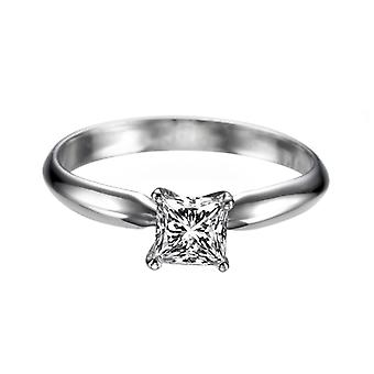 Moissanite Ring Forever One 0.40 CT 4.00MM 14K White Gold Solitaire Classic Princess