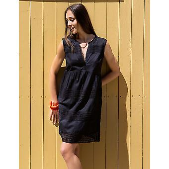 Iconique IC7-013 Women's Black Embroidered Cotton Beach Dress