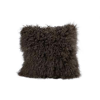 Nordvek Luxury Natural Mongolian Sheepskin Cushion - Long Curly Hair - Square 40x40cm # 9013-100