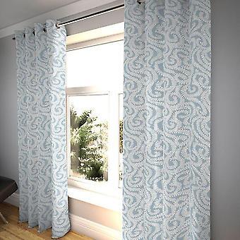 Mcalister Textilien kleine Blatt Keilholz blau Vorhänge