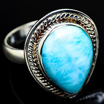 Larimar Ring Size 7.5 (925 Sterling Silver)  - Handmade Boho Vintage Jewelry RING7931