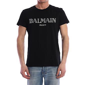 Balmain Th11601i312ebo Männer's schwarze Baumwolle T-shirt