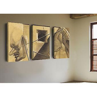Wielokolorowe malowanie ścienne na płótnie poliestrowym, rama Mdf, L135xP3xA60 cm