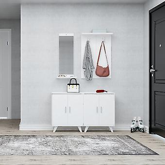 Wejście mobilne Necef Biały kolor wiórze, plastik, metal 30x12x90 cm, 60x17x90 cm, 60x35x76 cm