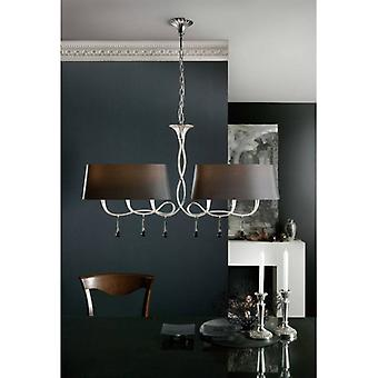Hanging Lamp Paola 2 Arm 6 Bulbs E14, Silver Painted With Black Lampshades & Black Glass Droplets