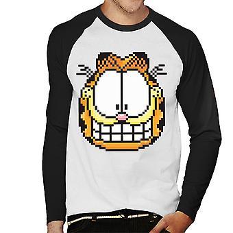 Garfield pixelated Grin mannen ' s honkbal lange mouwen T-shirt