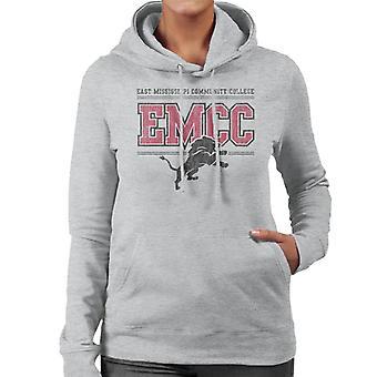 East Mississippi Community College Dark Distressed Lion Logo Women's Hooded Sweatshirt