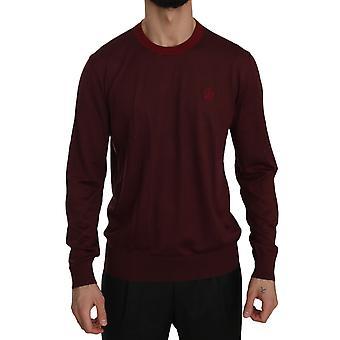 Dolce & Gabbana Maroon Crown Logo Crewneck Pullover Sweater -- TSH3870960