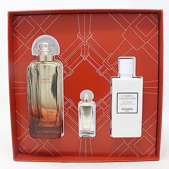Hermes Un Jardin Sur La Lagune Eau De Toilette 3-Pcs Geschenk-Set / neu mit Box