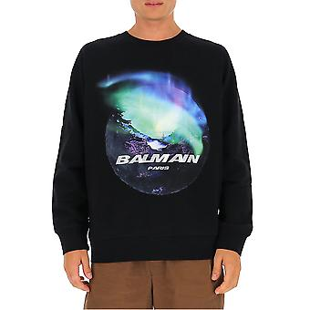 Balmain Uh13418i301aaa Men's Black Cotton Sweatshirt