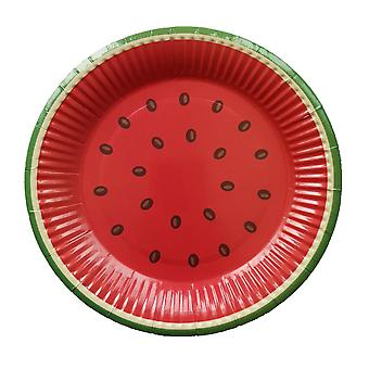 10 PCS Disposable Round Watermelon Paper Plates 7 Inch Red