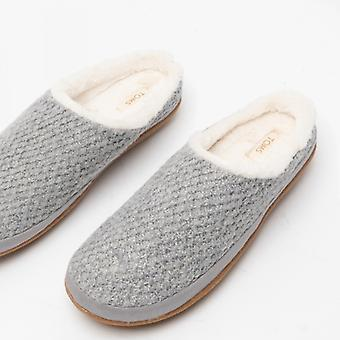 TOMS Ivy Ladies Knitted Mule Slippers Grey