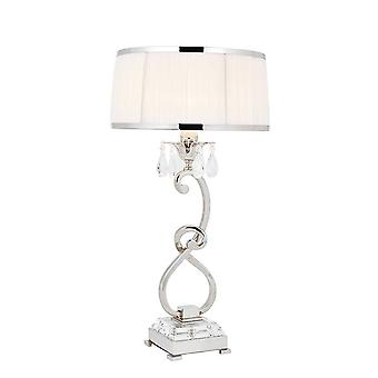 1 Light Medium Table Lampe Polished Nickel Plate with White Shade, E14