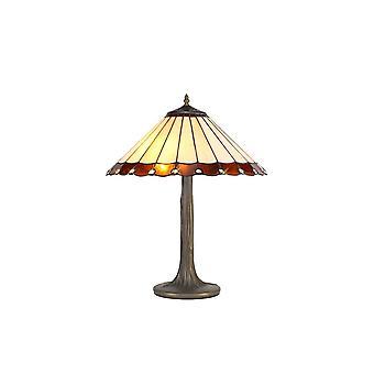 2 Albero leggero come lampada da tavolo E27 con 40cm Tiffany Shade, Ambra, Cristallo, Ottone Antico Invecchiato