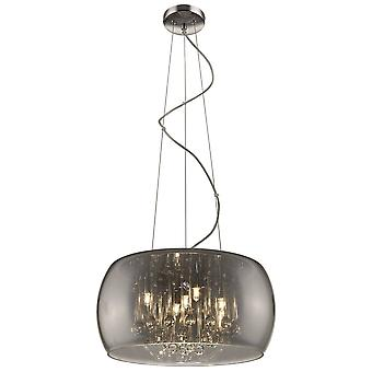 5 Light Ceiling Pendant Chrome, Smoked grey with Glass Shade with Crystals, G9