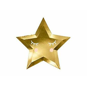 Plater Star Gold 27cm sett med 6 Party