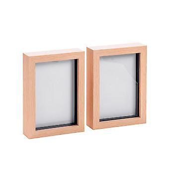 Nicola Frühling Licht Holz Effekt 5 x 7 Box Fotorahmen - stehend & hängend - Packung mit 2