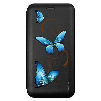 Caso para Xiaomi Redmi 9 negro mariposa patrón en arabesco