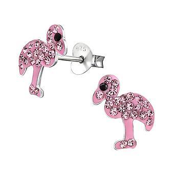 Flamingo - 925 Sterling Silver Crystal Ear Studs - W22334x