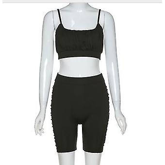 Gathered Crop Top and Ruched Side Cycling Shorts Loungewear Set Black