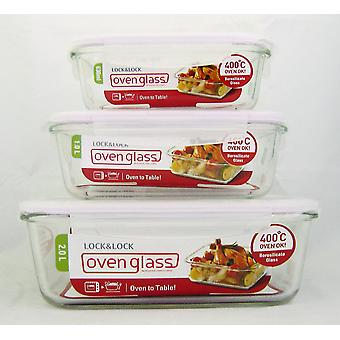 Lock & Lock Ovenglass Set of 3 Rectangle Glass Containers