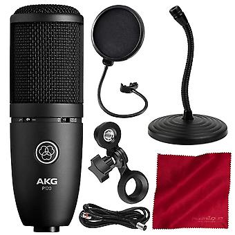 Akg p120 cardioid condenser microphone - basic accessory bundle w/mic stand + pop filter & more