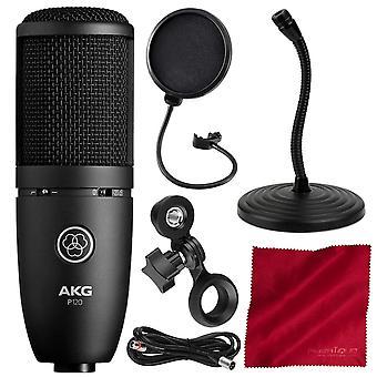Akg p120 kardioid kondensatormikrofon - grundläggande tillbehör bunt w / mic stativ + pop filter & Mer