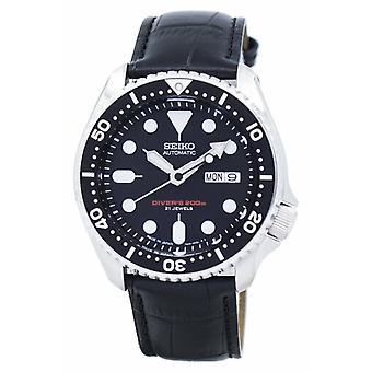 Seiko אוטומטי צולל & יחס שחור עור Skx007j1-ls6 200m גברים&s שעון