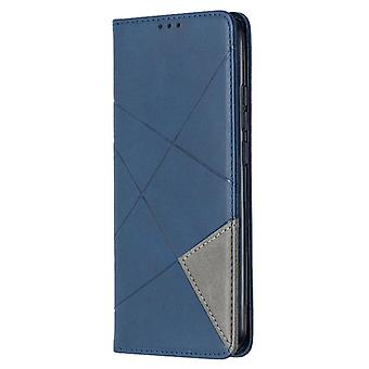 For Xiaomi Redmi 9C Rhombus Texture Horizontal Flip Magnetic Leather Case with Holder & Card Slots(Blue)