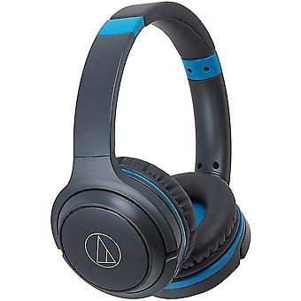 Audio-technica ath-s200btgbl bluetooth wireless on-ear headphones with built-in mic & controls, gray/blue