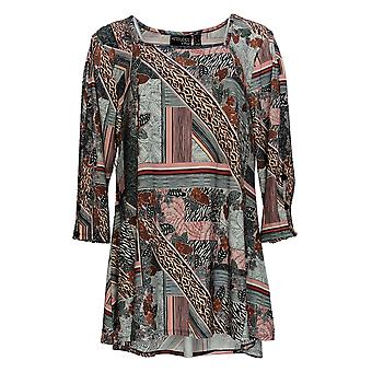 Attitudes by Renee Women's Top Jersey Square-Neck Printed Black A378263