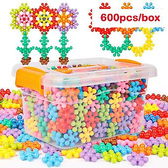 3d Snowflake Plum-building Spin-assembly Insert Building-blocks