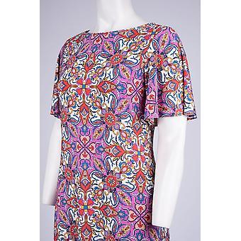 Multi Print krátký rukáv Jewel výstřih shift šaty