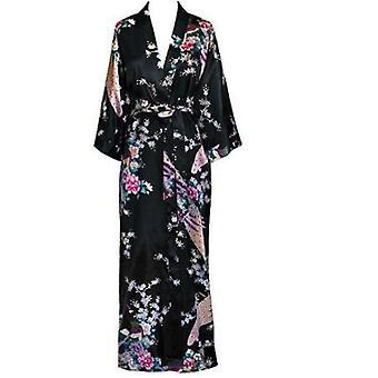 Women Long Robe Print Flower Peacock Kimono Bathrobe Wedding Robes Sexy