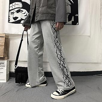 Men Black Harajuku Pants Man Wide Leg Trousers Hip Hop Elastic Waist Loose