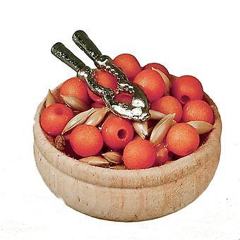 Dockor Hus Trä skål av nötter och Nötknäpparens julmatsal tillbehör