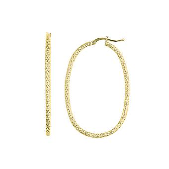 14K желтое золото блестящими овальной формы текстурированные Хооп Серьги