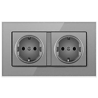 Glass Panel Two-slot Without Pin Wall Power Socket 16a
