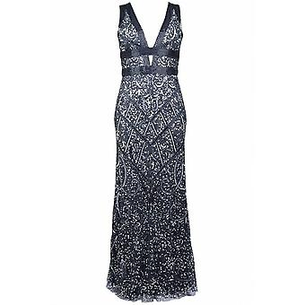 Mattox Plunging Sequin Gown