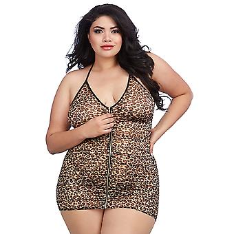 Dreamgirl Plus Size Leopard Print Stretch Mesh Chemise with Shirring Details