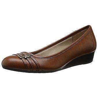 LifeStride Womens D6889S Leather Cap Toe Casual Slide Sandals